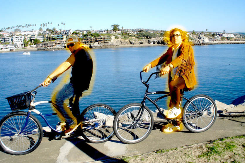 Alex Sharp Cole Glowing on a Bicycle with DJ Richard Wayne Southern California